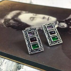 Multi-Gemstone Sterling Silver Boho Earrings
